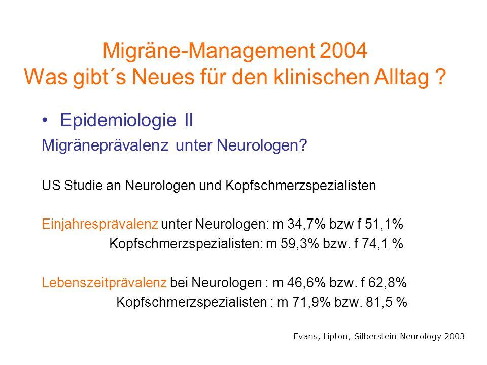 Epidemiologie II Migräneprävalenz unter Neurologen? US Studie an Neurologen und Kopfschmerzspezialisten Einjahresprävalenz unter Neurologen: m 34,7% b