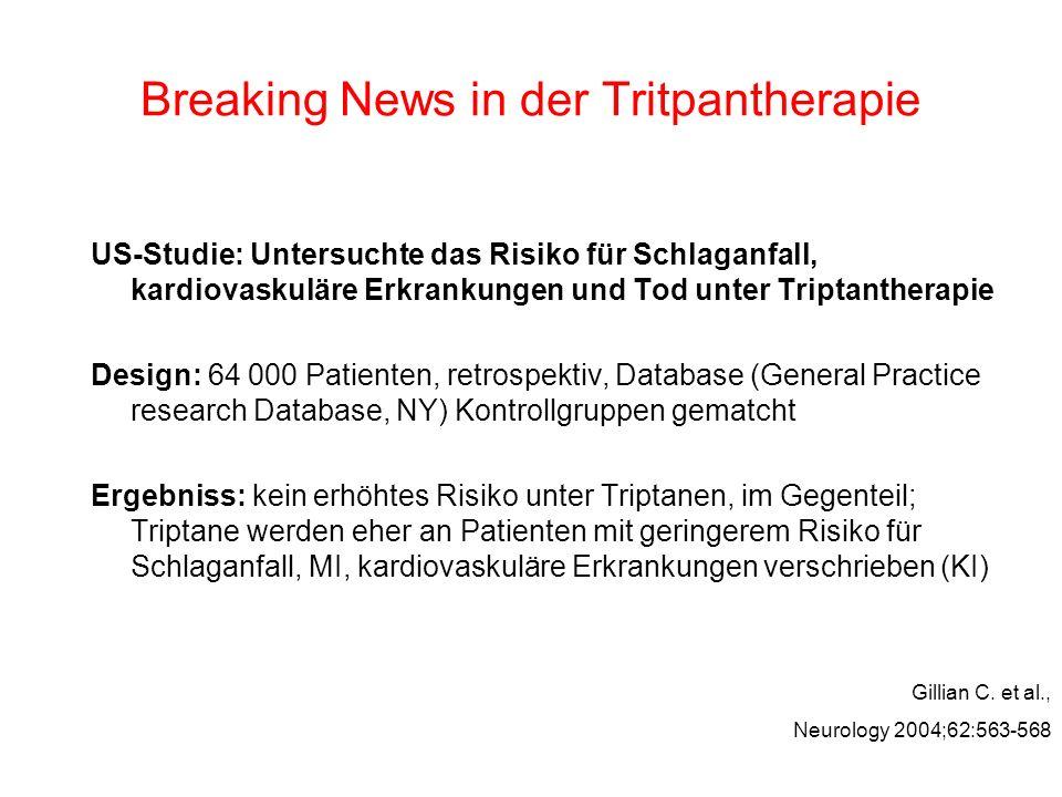 Breaking News in der Tritpantherapie US-Studie: Untersuchte das Risiko für Schlaganfall, kardiovaskuläre Erkrankungen und Tod unter Triptantherapie De