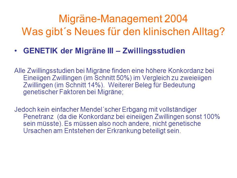 Migräne-Management 2004 Was gibt´s Neues für den klinischen Alltag? GENETIK der Migräne III – Zwillingsstudien Alle Zwillingsstudien bei Migräne finde