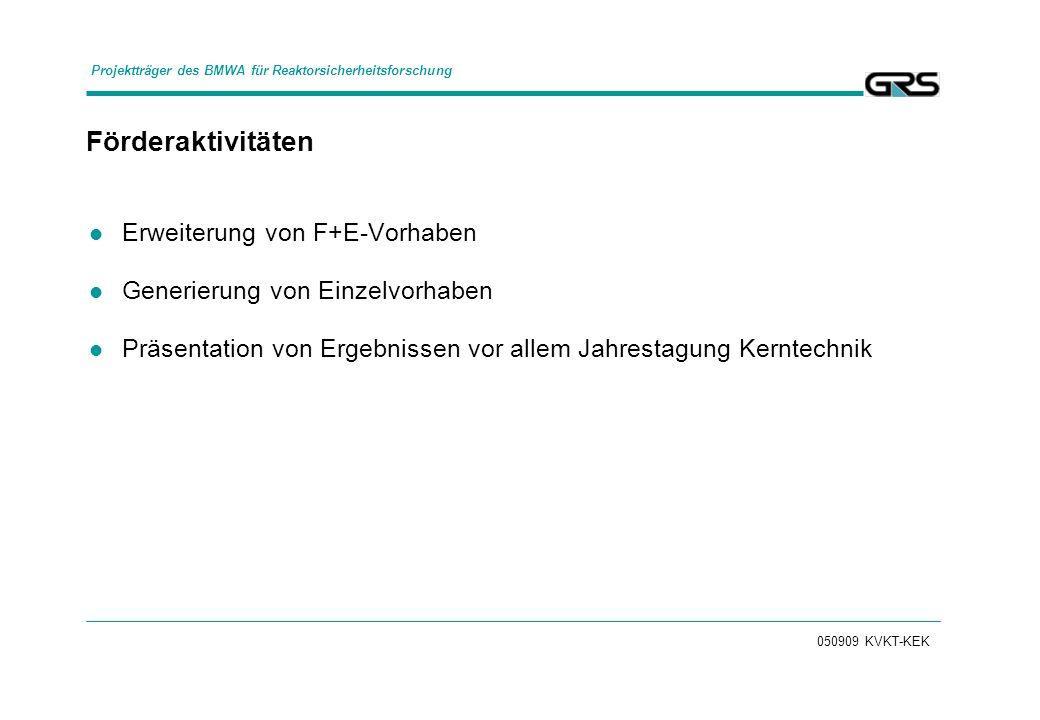 050909 KVKT-KEK Förderaktivitäten Erweiterung von F+E-Vorhaben Generierung von Einzelvorhaben Präsentation von Ergebnissen vor allem Jahrestagung Kerntechnik Projektträger des BMWA für Reaktorsicherheitsforschung