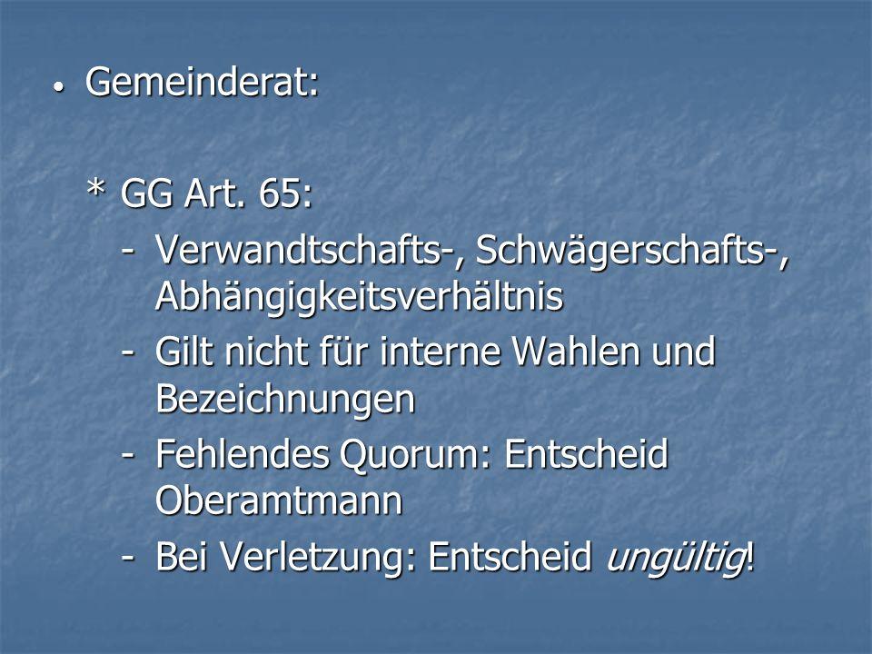 Gemeinderat: Gemeinderat: *GG Art.