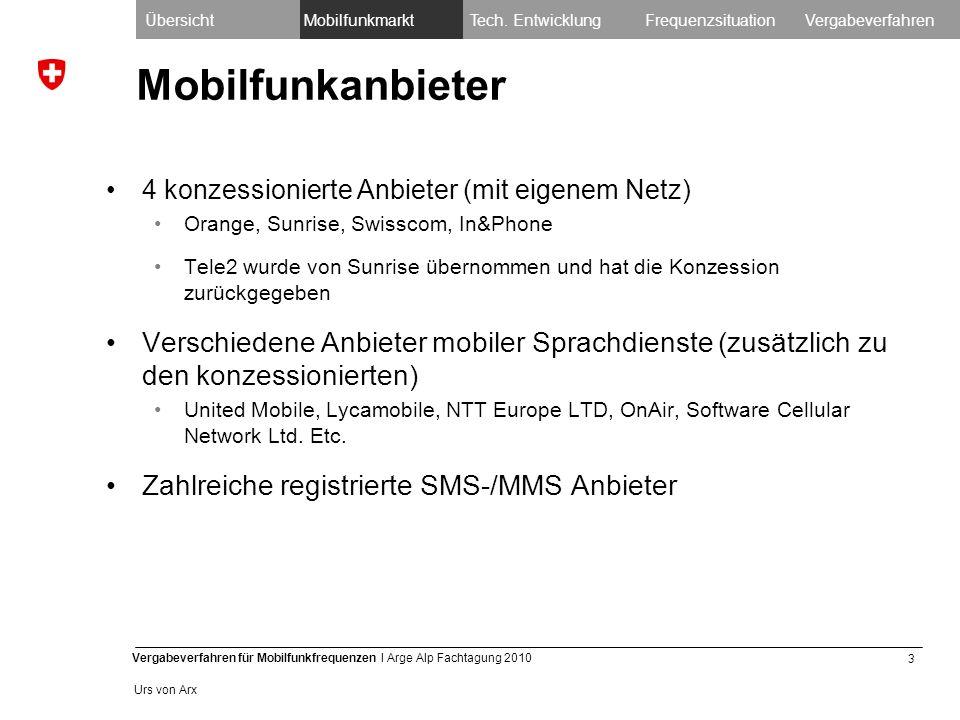 3 Vergabeverfahren für Mobilfunkfrequenzen I Arge Alp Fachtagung 2010 Urs von Arx Mobilfunkanbieter 4 konzessionierte Anbieter (mit eigenem Netz) Orange, Sunrise, Swisscom, In&Phone Tele2 wurde von Sunrise übernommen und hat die Konzession zurückgegeben Verschiedene Anbieter mobiler Sprachdienste (zusätzlich zu den konzessionierten) United Mobile, Lycamobile, NTT Europe LTD, OnAir, Software Cellular Network Ltd.