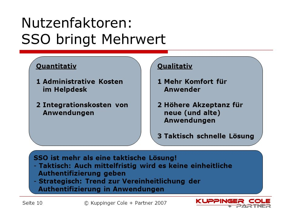 © Kuppinger Cole + Partner 2007Seite 10 Nutzenfaktoren: SSO bringt Mehrwert Quantitativ 1 Administrative Kosten im Helpdesk 2 Integrationskosten von A