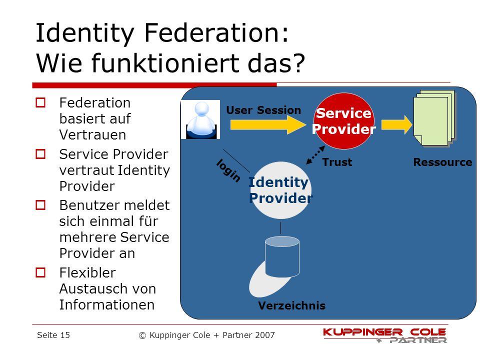 Identity Federation: Wie funktioniert das? Federation basiert auf Vertrauen Service Provider vertraut Identity Provider Benutzer meldet sich einmal fü