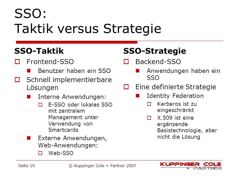 SSO: Taktik versus Strategie SSO-Taktik Frontend-SSO Benutzer haben ein SSO Schnell implementierbare Lösungen Interne Anwendungen: E-SSO oder lokales