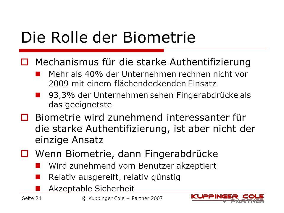 Die Rolle der Biometrie Mechanismus für die starke Authentifizierung Mehr als 40% der Unternehmen rechnen nicht vor 2009 mit einem flächendeckenden Ei