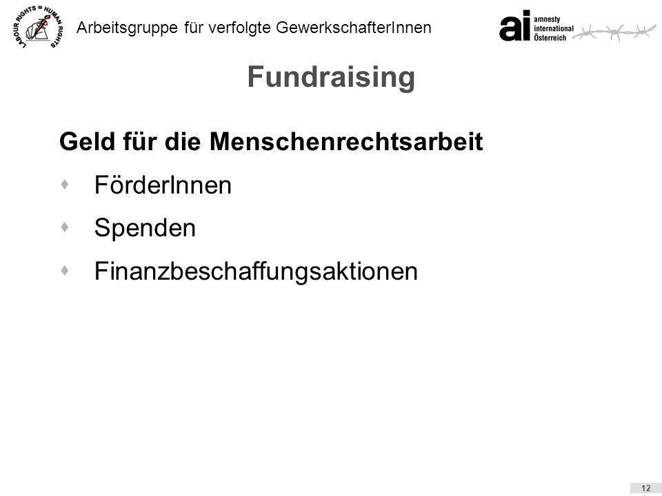 Arbeitsgruppe für verfolgte GewerkschafterInnen 12 Fundraising Geld für die Menschenrechtsarbeit sFörderInnen sSpenden sFinanzbeschaffungsaktionen