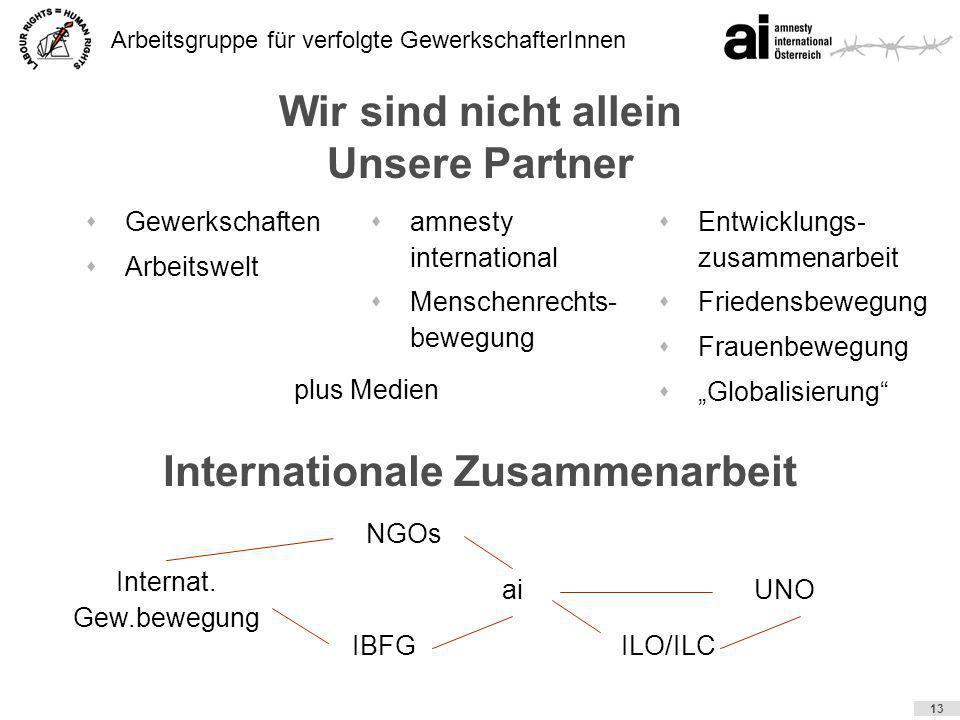 Arbeitsgruppe für verfolgte GewerkschafterInnen 13 Wir sind nicht allein Unsere Partner sGewerkschaften sArbeitswelt sEntwicklungs- zusammenarbeit sFr