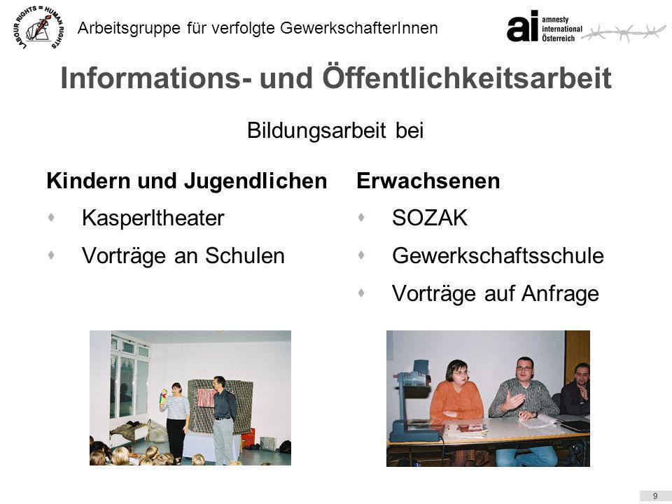 Arbeitsgruppe für verfolgte GewerkschafterInnen 9 Informations- und Öffentlichkeitsarbeit Kindern und Jugendlichen sKasperltheater sVorträge an Schule