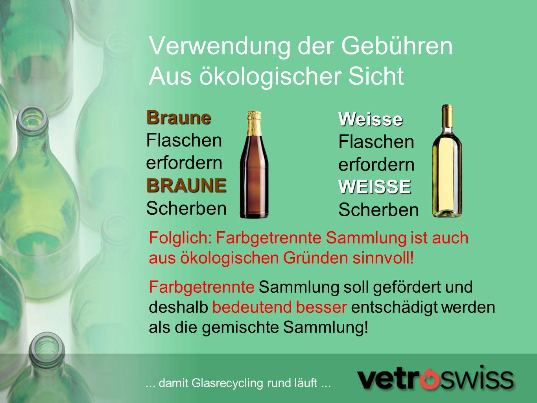 ... damit Glasrecycling rund läuft... Verwendung der Gebühren Aus ökologischer Sicht Folglich: Farbgetrennte Sammlung ist auch aus ökologischen Gründe