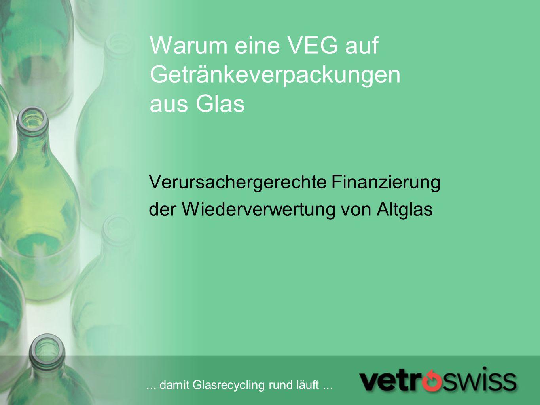 ... damit Glasrecycling rund läuft... Warum eine VEG auf Getränkeverpackungen aus Glas Verursachergerechte Finanzierung der Wiederverwertung von Altgl