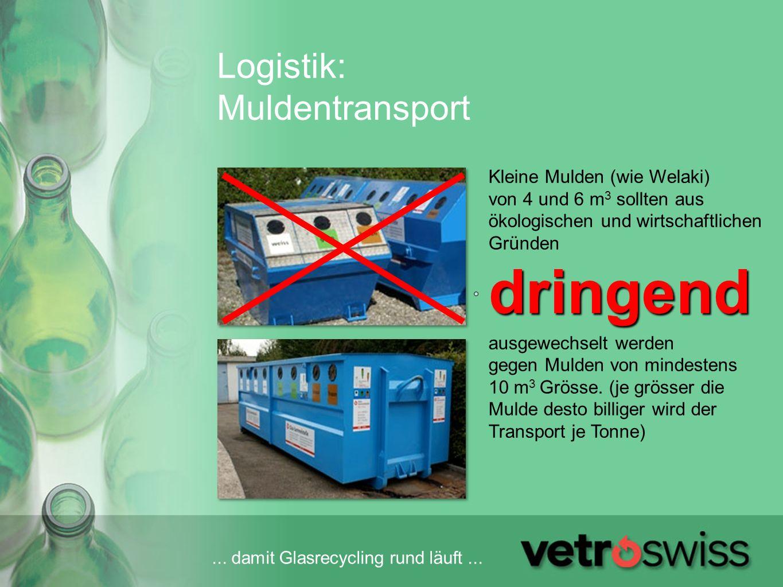 ... damit Glasrecycling rund läuft... Logistik: Muldentransport Kleine Mulden (wie Welaki) von 4 und 6 m 3 sollten aus ökologischen und wirtschaftlich