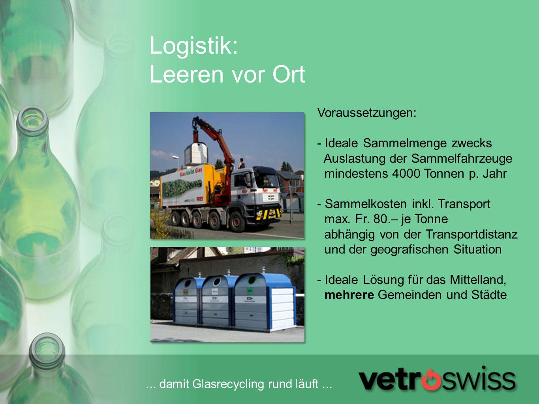 ... damit Glasrecycling rund läuft... Logistik: Leeren vor Ort Voraussetzungen: - Ideale Sammelmenge zwecks Auslastung der Sammelfahrzeuge mindestens