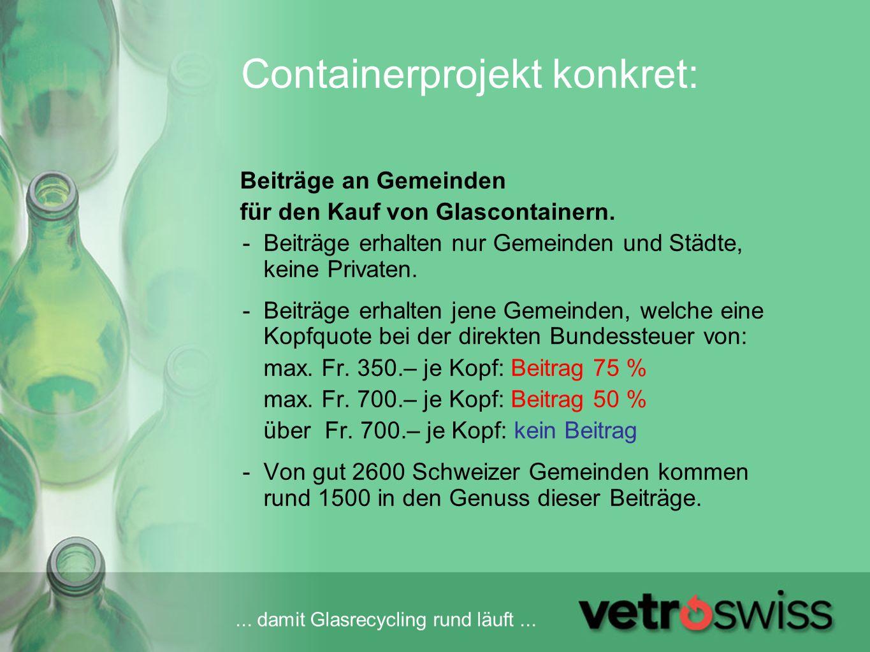 ... damit Glasrecycling rund läuft... Containerprojekt konkret: Beiträge an Gemeinden für den Kauf von Glascontainern. -Beiträge erhalten nur Gemeinde