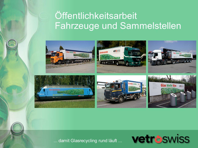 ... damit Glasrecycling rund läuft... Öffentlichkeitsarbeit Fahrzeuge und Sammelstellen