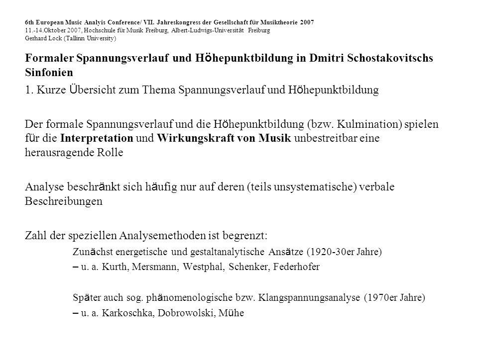 Formaler Spannungsverlauf und H ö hepunktbildung in Dmitri Schostakovitschs Sinfonien 3.