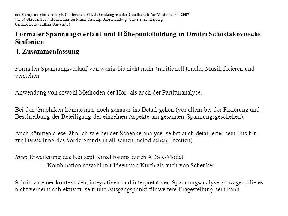 Formaler Spannungsverlauf und H ö hepunktbildung in Dmitri Schostakovitschs Sinfonien 4.