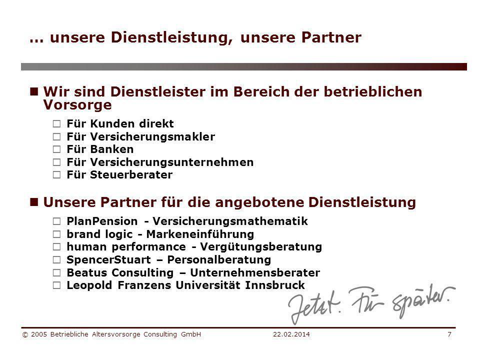 22.02.2014 © 2005 Betriebliche Altersvorsorge Consulting GmbH8 … wir haben viel zu tun Betriebliche Altersvorsorge in Europa 2000 Anwartschaftsberechtigte in % der Erwerbspersonen Quelle: Europäische Kommission (2000), ifo (2000), Statistik Schweiz, WIFO