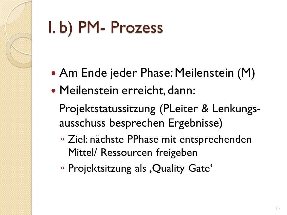 I. b) PM- Prozess Am Ende jeder Phase: Meilenstein (M) Meilenstein erreicht, dann: Projektstatussitzung (PLeiter & Lenkungs- ausschuss besprechen Erge