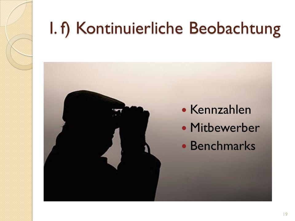 I. f) Kontinuierliche Beobachtung Kennzahlen Mitbewerber Benchmarks 19