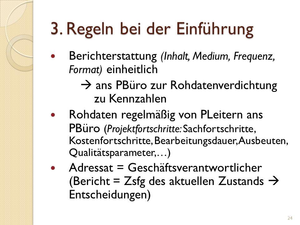 3. Regeln bei der Einführung Berichterstattung (Inhalt, Medium, Frequenz, Format) einheitlich ans PBüro zur Rohdatenverdichtung zu Kennzahlen Rohdaten