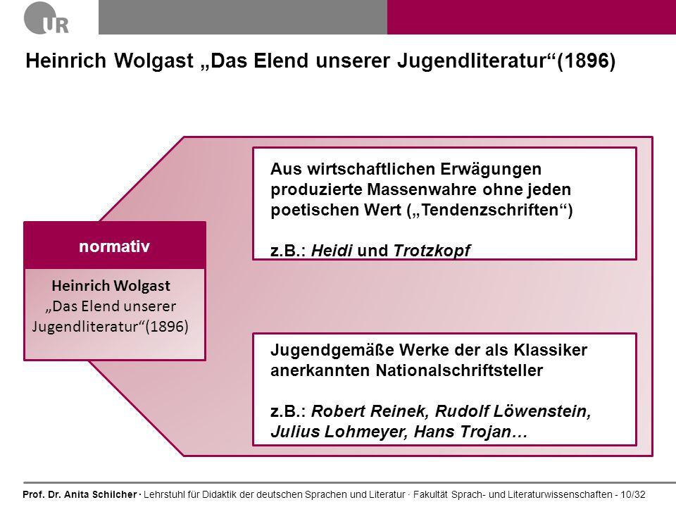 Prof. Dr. Anita Schilcher · Lehrstuhl für Didaktik der deutschen Sprachen und Literatur · Fakultät Sprach- und Literaturwissenschaften - 10/32 Heinric
