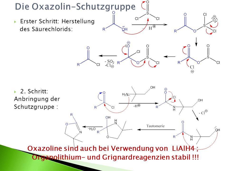 Erster Schritt: Herstellung des Säurechlorids: 2. Schritt: Anbringung der Schutzgruppe : j Oxazoline sind auch bei Verwendung von LiAlH4 ; Organolithi