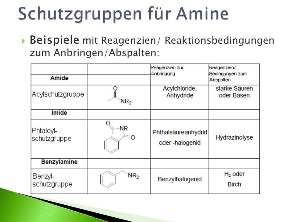Beispiele mit Reagenzien/ Reaktionsbedingungen zum Anbringen/Abspalten: