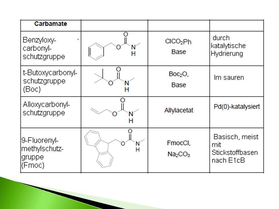 Mechanismen der Anbringung/Abspaltung: FMOC-Schutzgruppe: Anbringung: Abspaltung: (nach E1cB)