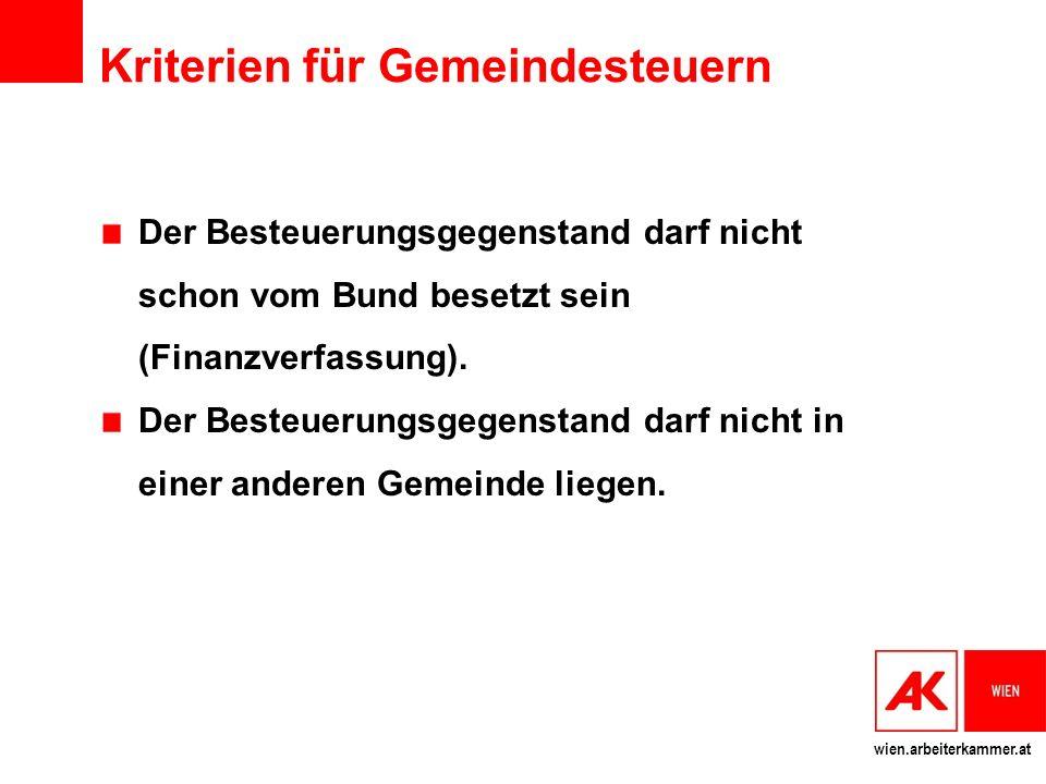 wien.arbeiterkammer.at Kriterien für Gemeindesteuern Der Besteuerungsgegenstand darf nicht schon vom Bund besetzt sein (Finanzverfassung). Der Besteue
