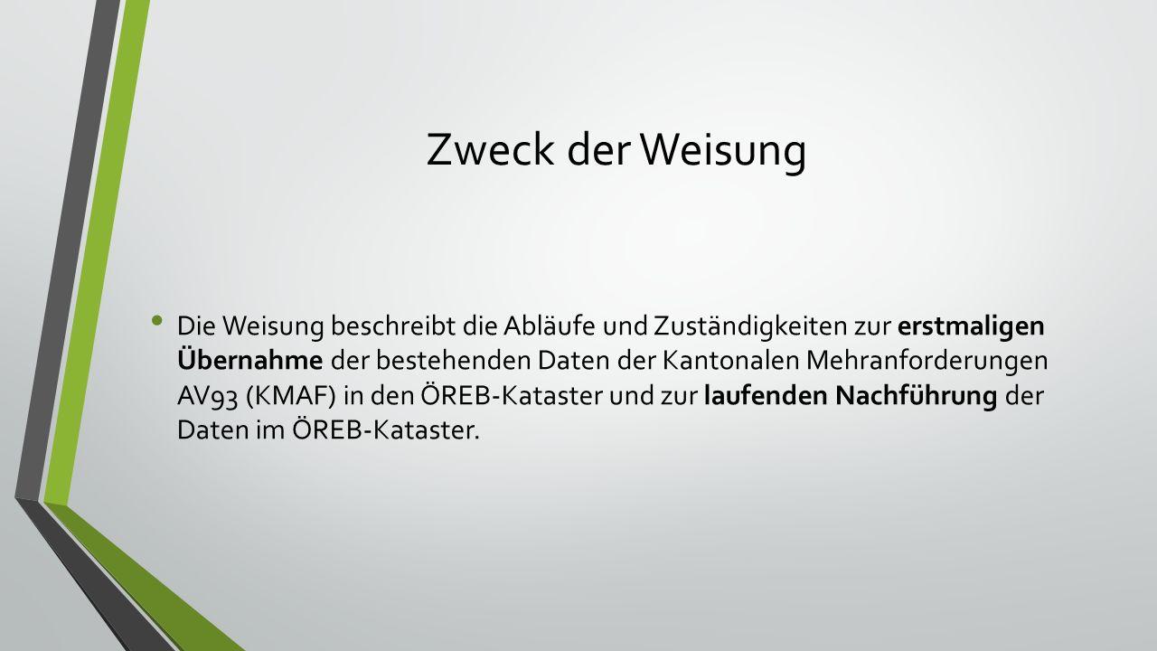 Inhalt der Weisung Zweck Beschrieb ÖREB-Kataster Zürich allgemein Definitionen für diese Weisung Erstaufnahme Nachführung