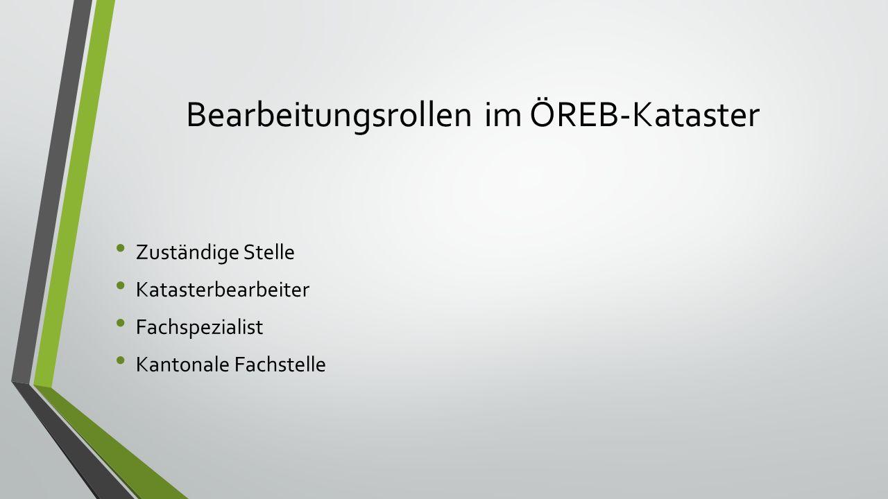 Bearbeitungsrollen im ÖREB-Kataster Zuständige Stelle Katasterbearbeiter Fachspezialist Kantonale Fachstelle
