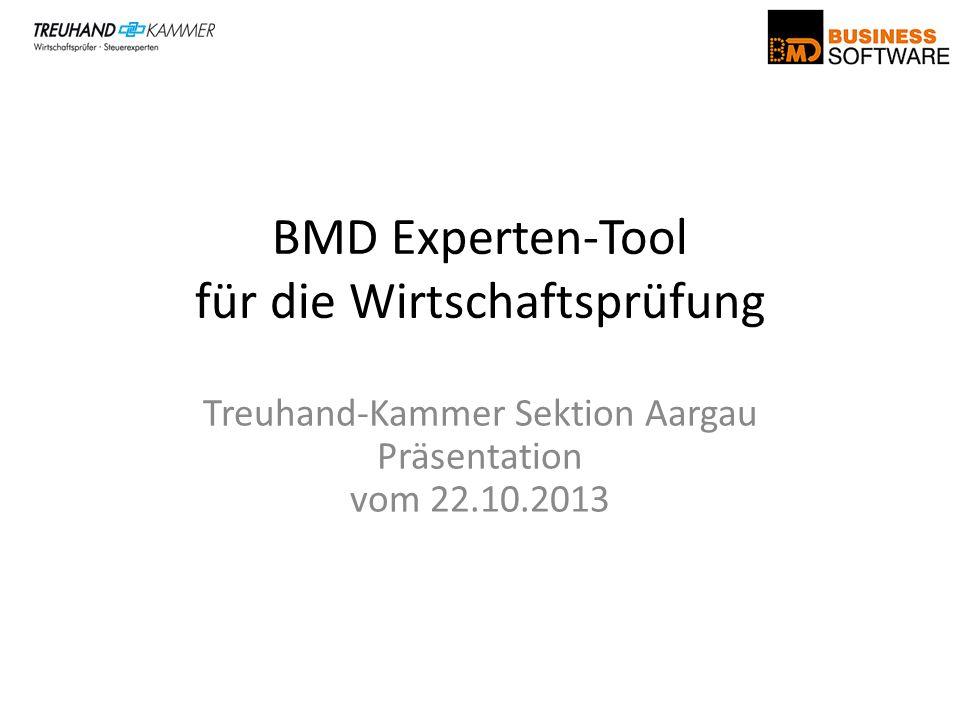 Treuhand-Kammer Sektion Aargau Präsentation vom 22.10.2013 BMD Experten-Tool für die Wirtschaftsprüfung
