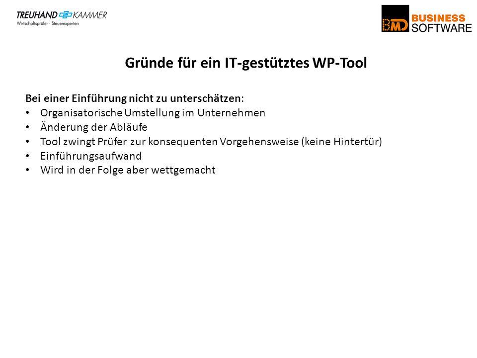 Gründe für ein IT-gestütztes WP-Tool Bei einer Einführung nicht zu unterschätzen: Organisatorische Umstellung im Unternehmen Änderung der Abläufe Tool