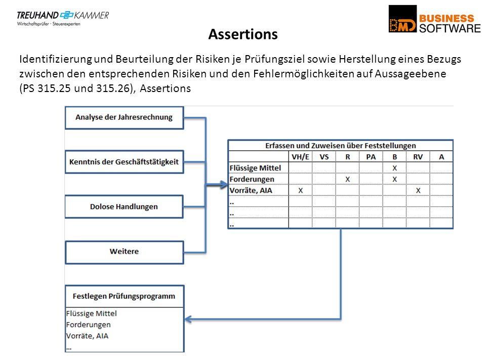 Assertions Identifizierung und Beurteilung der Risiken je Prüfungsziel sowie Herstellung eines Bezugs zwischen den entsprechenden Risiken und den Fehl