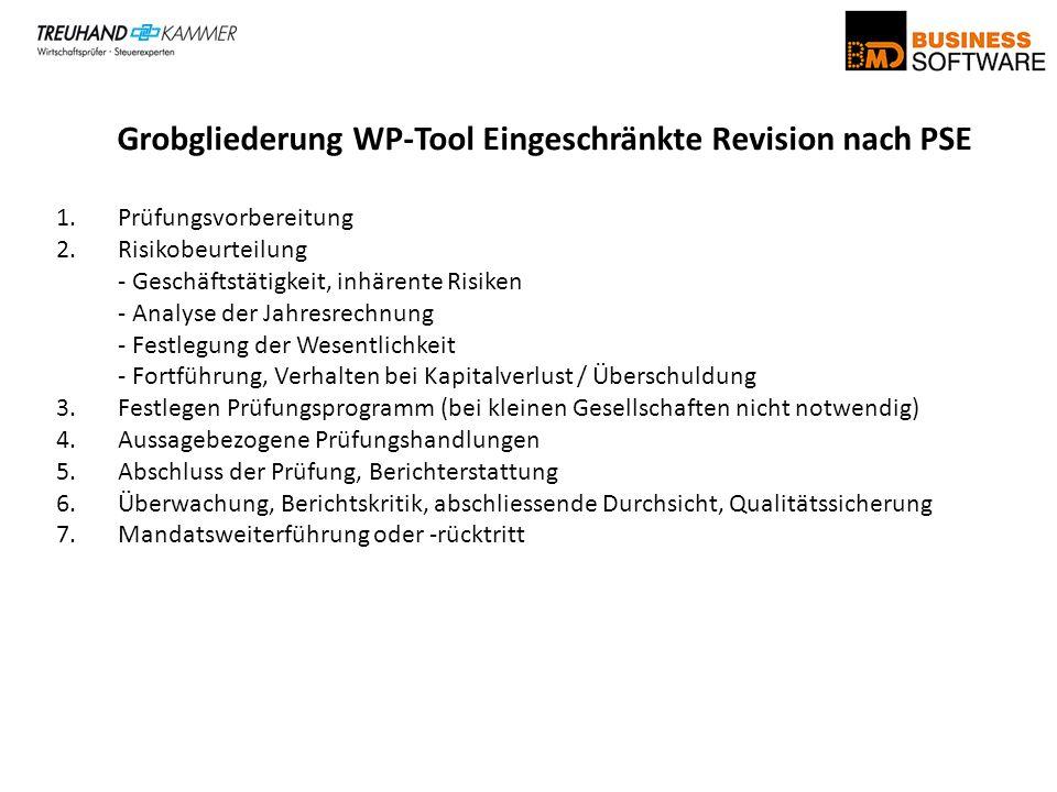 Grobgliederung WP-Tool Eingeschränkte Revision nach PSE 1.Prüfungsvorbereitung 2.Risikobeurteilung - Geschäftstätigkeit, inhärente Risiken - Analyse d