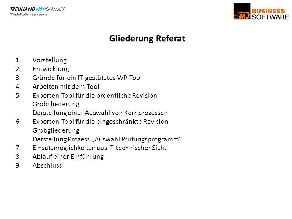 Gliederung Referat 1.Vorstellung 2.Entwicklung 3.Gründe für ein IT-gestütztes WP-Tool 4.Arbeiten mit dem Tool 5.Experten-Tool für die ordentliche Revi