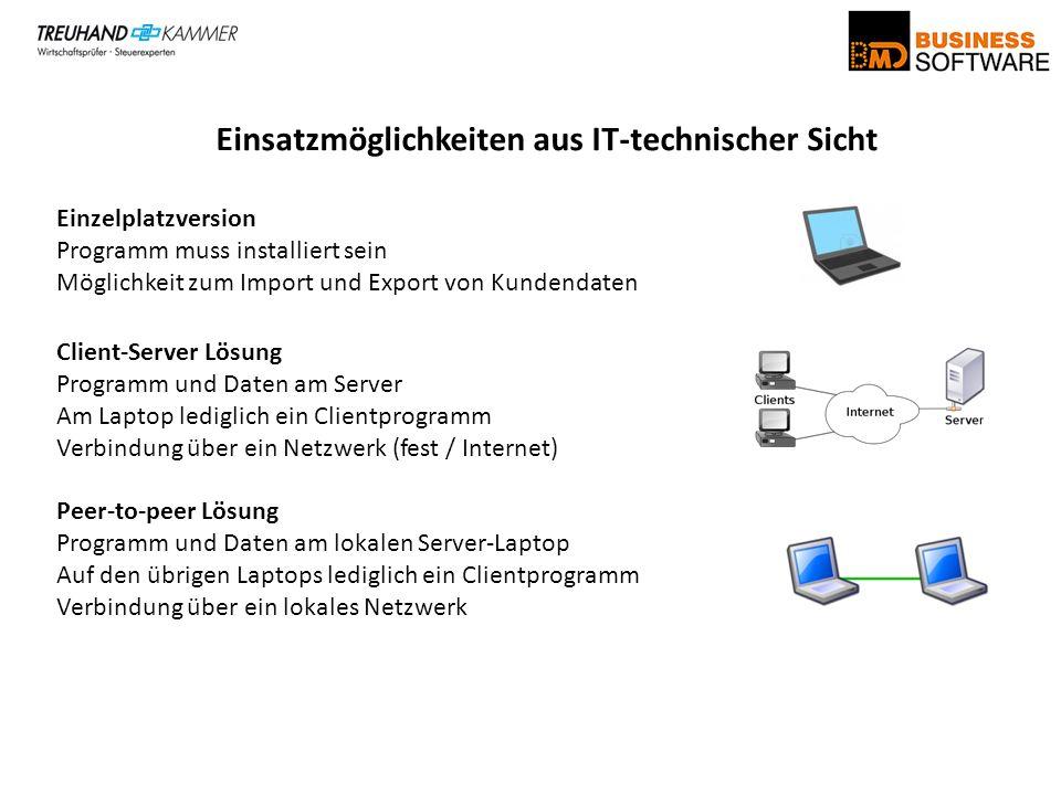 Einsatzmöglichkeiten aus IT-technischer Sicht Einzelplatzversion Programm muss installiert sein Möglichkeit zum Import und Export von Kundendaten Clie