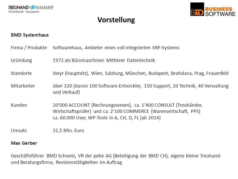Vorstellung BMD Systemhaus Firma / ProdukteSoftwarehaus, Anbieter eines voll integrierten ERP-Systems Gründung1972 als Büromaschinen Mittlerer Datente