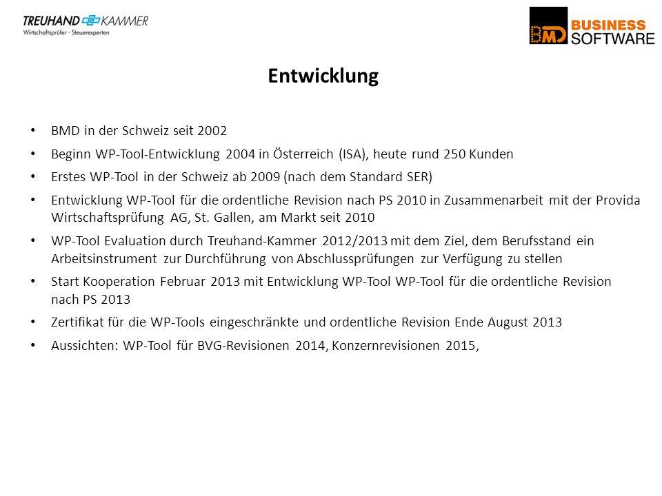 Entwicklung BMD in der Schweiz seit 2002 Beginn WP-Tool-Entwicklung 2004 in Österreich (ISA), heute rund 250 Kunden Erstes WP-Tool in der Schweiz ab 2