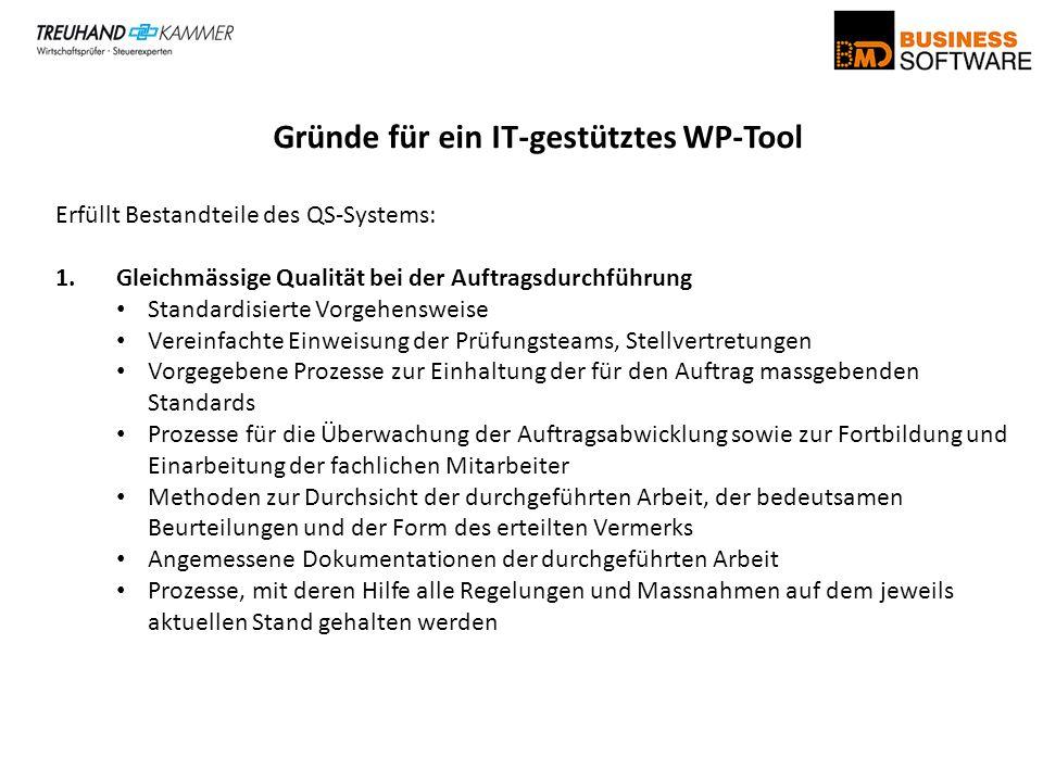 Gründe für ein IT-gestütztes WP-Tool Erfüllt Bestandteile des QS-Systems: 1.Gleichmässige Qualität bei der Auftragsdurchführung Standardisierte Vorgeh