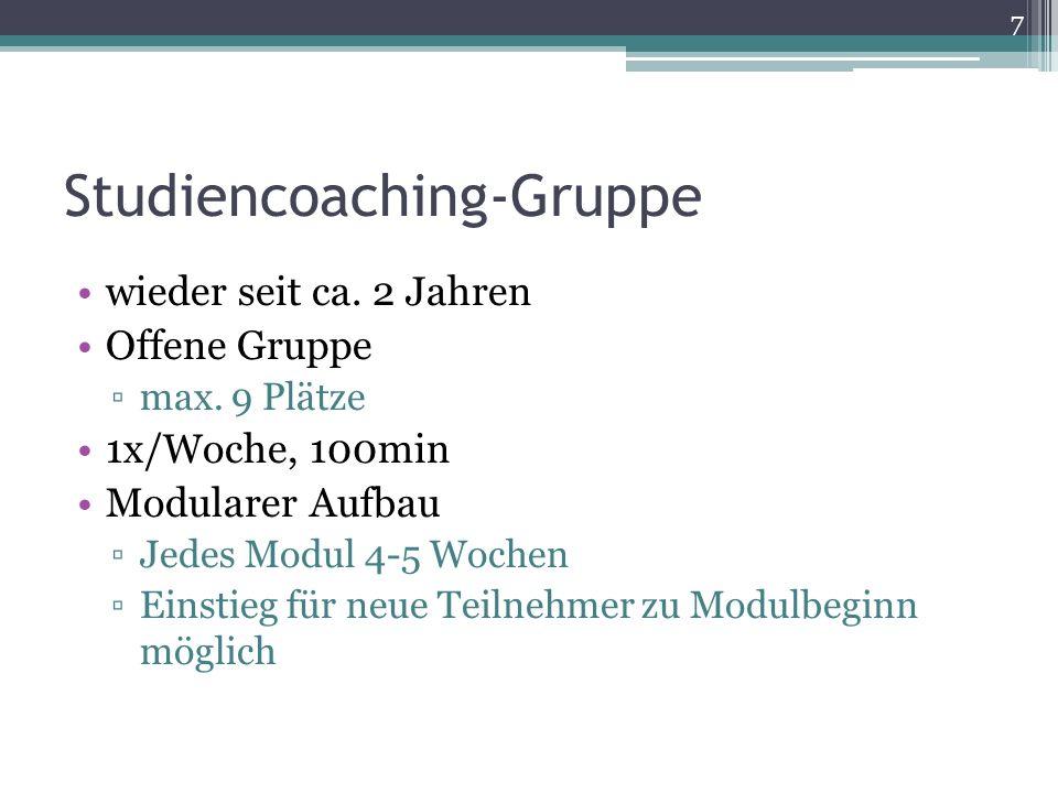 Studiencoaching-Gruppe wieder seit ca. 2 Jahren Offene Gruppe max. 9 Plätze 1x/Woche, 100min Modularer Aufbau Jedes Modul 4-5 Wochen Einstieg für neue