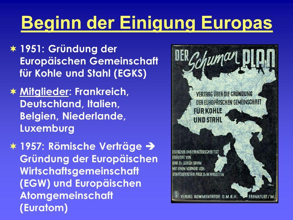 Beginn der Einigung Europas 1951: Gründung der Europäischen Gemeinschaft für Kohle und Stahl (EGKS) Mitglieder: Frankreich, Deutschland, Italien, Belg