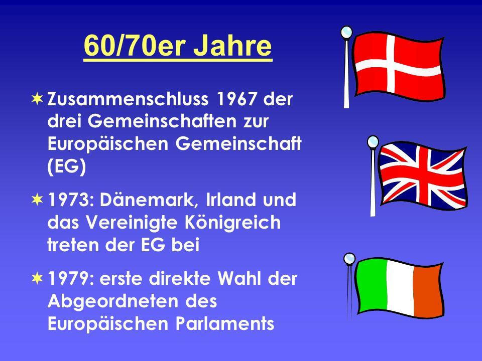 60/70er Jahre Zusammenschluss 1967 der drei Gemeinschaften zur Europäischen Gemeinschaft (EG) 1973: Dänemark, Irland und das Vereinigte Königreich tre
