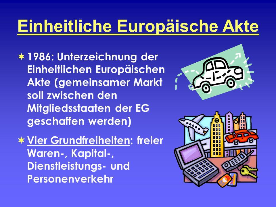 Einheitliche Europäische Akte 1986: Unterzeichnung der Einheitlichen Europäischen Akte (gemeinsamer Markt soll zwischen den Mitgliedsstaaten der EG ge