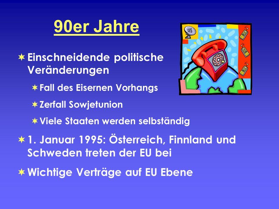 90er Jahre Einschneidende politische Veränderungen Fall des Eisernen Vorhangs Zerfall Sowjetunion Viele Staaten werden selbständig 1. Januar 1995: Öst
