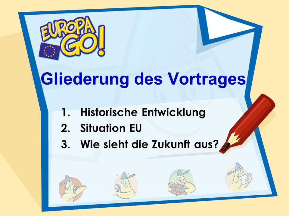 Gliederung des Vortrages 1.Historische Entwicklung 2.Situation EU 3.Wie sieht die Zukunft aus?