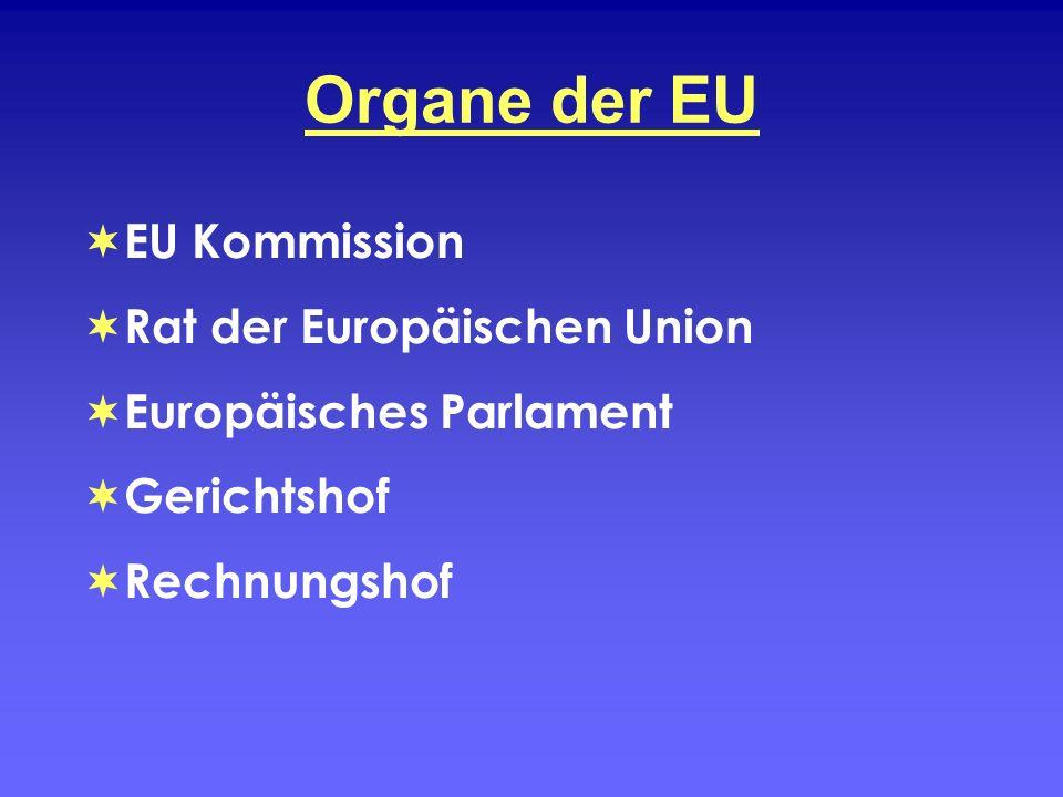 Organe der EU EU Kommission Rat der Europäischen Union Europäisches Parlament Gerichtshof Rechnungshof