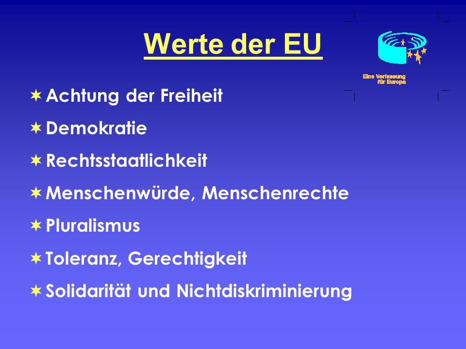 Werte der EU Achtung der Freiheit Demokratie Rechtsstaatlichkeit Menschenwürde, Menschenrechte Pluralismus Toleranz, Gerechtigkeit Solidarität und Nic
