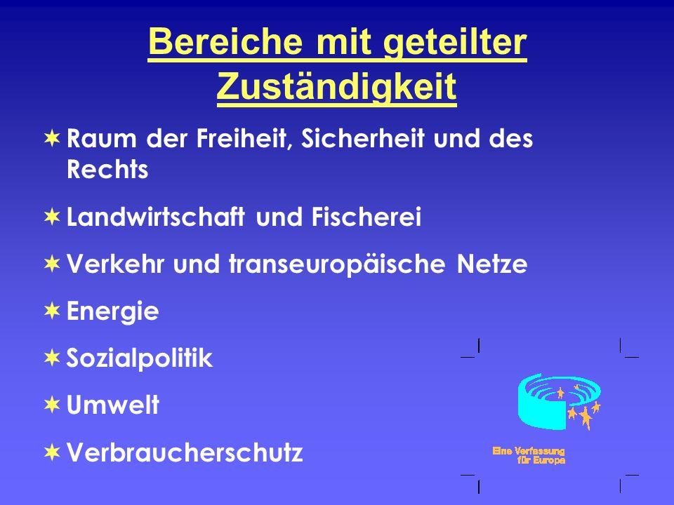 Bereiche mit geteilter Zuständigkeit Raum der Freiheit, Sicherheit und des Rechts Landwirtschaft und Fischerei Verkehr und transeuropäische Netze Ener